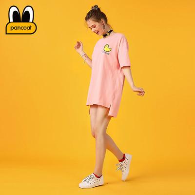 PANCOAT thương hiệu thời trang ánh sáng màu xanh vịt màu vàng in dress dài ngắn tay T-Shirt PCATE18223 váy đầm