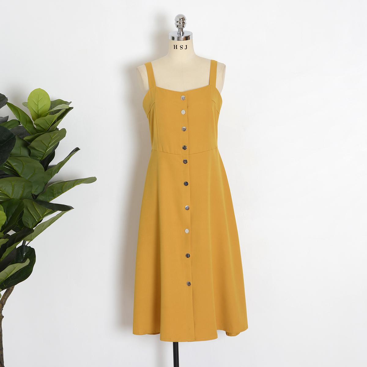 夏季新款黄色同款连衣裙女中长款吊带气质高腰明星显瘦海边v黄色裙