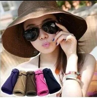 Корейский Летняя Sun Hat Travel Sun Hat женский Летняя защита от солнца со складыванием Туристическая пляжная шляпа солнца шапка
