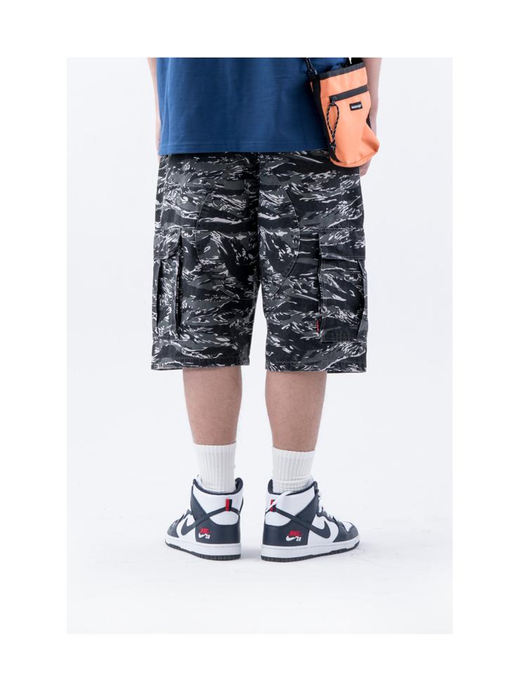 WASSUP18SS hai màu hổ pattern ngụy trang ba chiều lớn pocket shorts quân quần rửa overalls tiger quần short