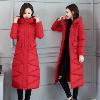 Girls cotton long section of the new Slim thin cotton knee hooded jacket Korean student winter coat big yards