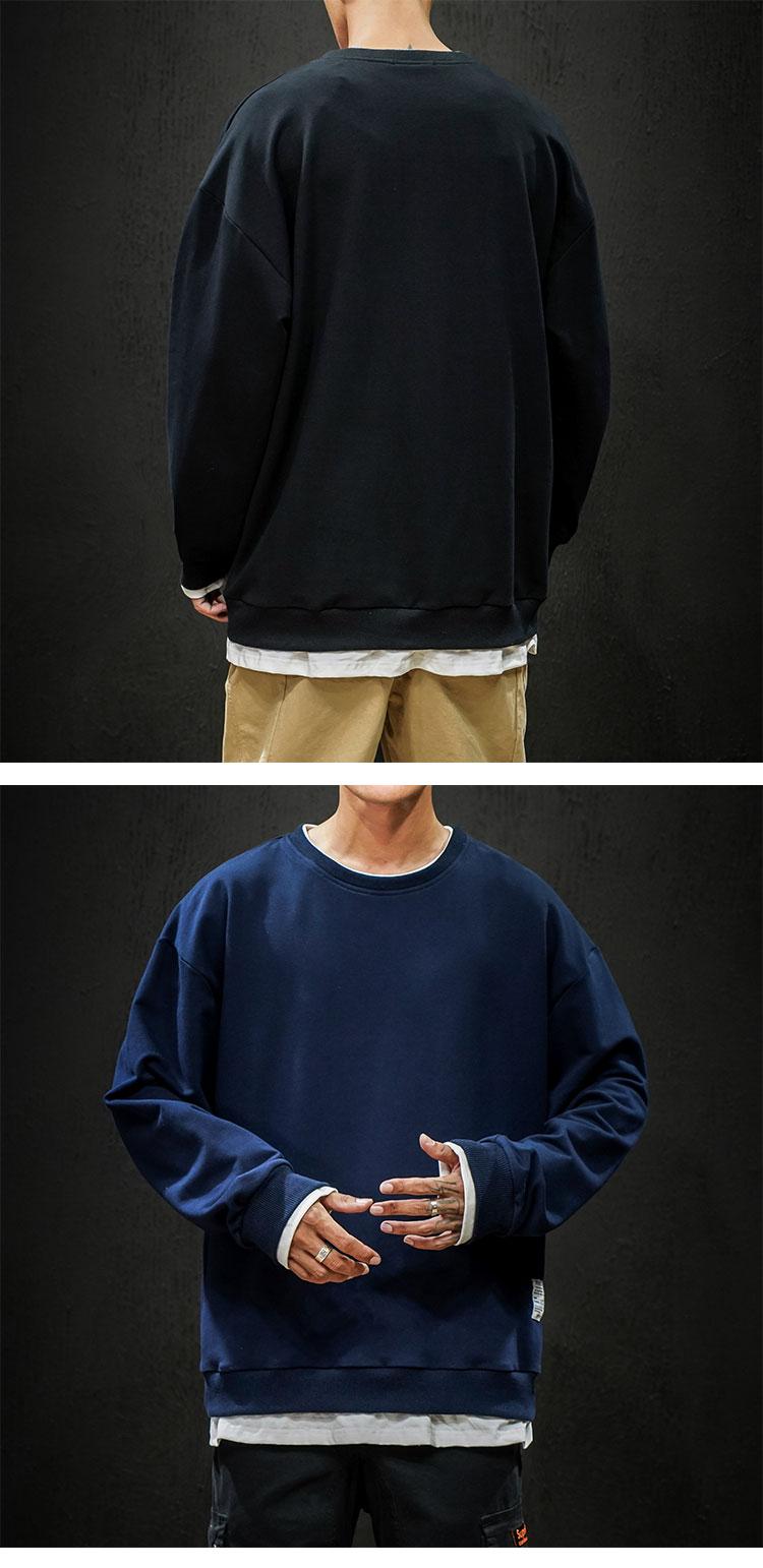 黑墙 19秋季新款日系大码假两件打底套头卫衣  A038-WY89-P55