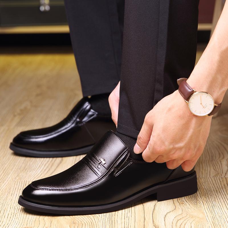 大尺码男鞋子冬季皮鞋男真皮商务正装加绒码加大号休閒鞋详细照片