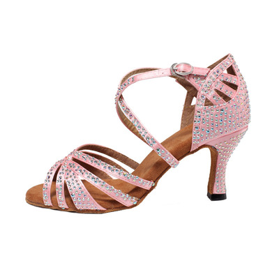 Women's Ballroom Latin dance Shoes Latin dance shoes adult professional high-heeled dance shoes wome soft soled diamond square ballroom dancing wome sandals
