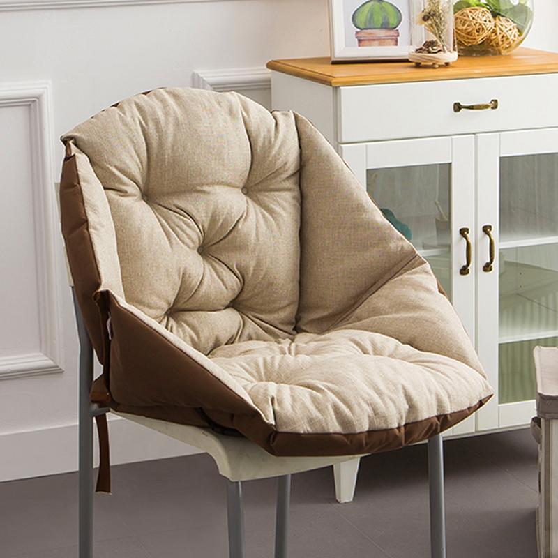坐垫靠垫一体护腰座垫冬季加厚毛绒办公室藤椅餐椅子电脑靠背椅垫