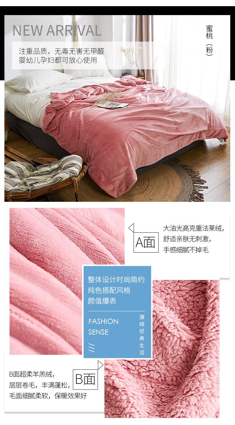 出口美国双层羊羔绒毛毯加厚单双人盖毯冬季保暖床单珊瑚绒毯子详细照片