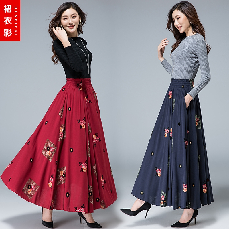 04713310395 Autumn 2018 Cotton and linen skirt female national wind was thin embroidered  dance skirt elastic waist