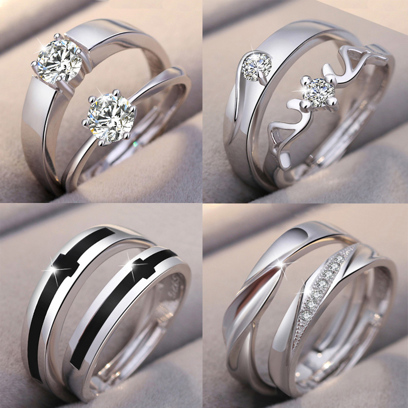 Usd 53 10 Sterling Silver Couple Ring A Pair Of Lettering S925 Ring