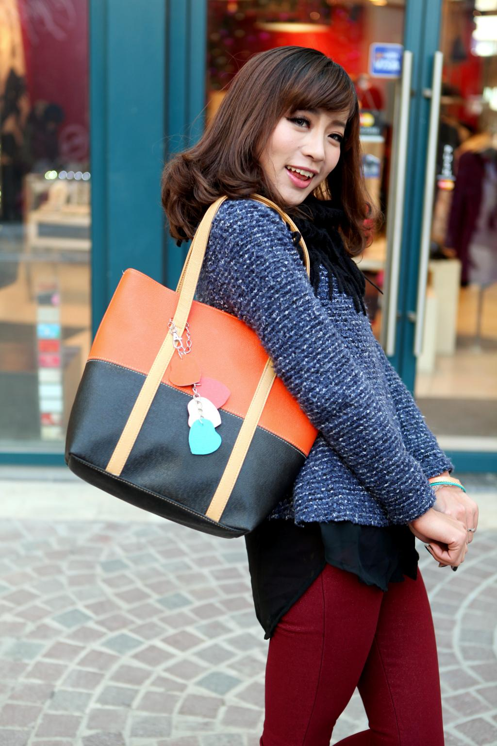 Large Capacity Women Shoulder Bag Two spell candy color female bag Fashion Lady Women Leather Bag 11