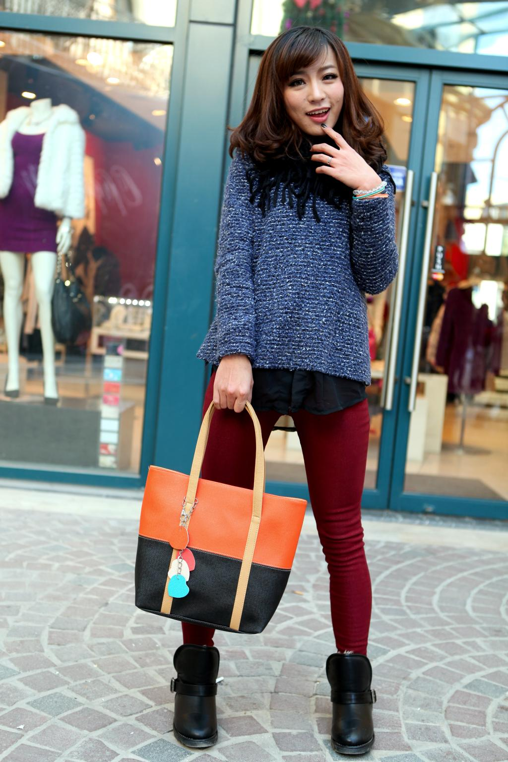 Large Capacity Women Shoulder Bag Two spell candy color female bag Fashion Lady Women Leather Bag 8