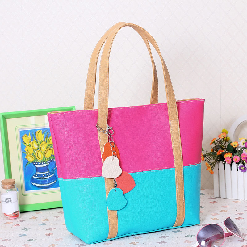 Large Capacity Women Shoulder Bag Two spell candy color female bag Fashion Lady Women Leather Bag 16