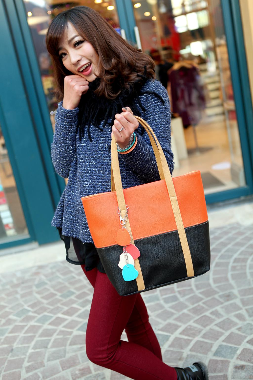 Large Capacity Women Shoulder Bag Two spell candy color female bag Fashion Lady Women Leather Bag 12