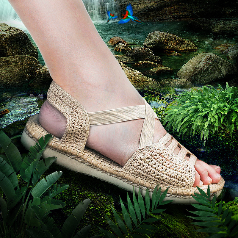 13fb1486916393 Desert line ladies shoes casual breathable sweat-absorbent flat sandals  hand-woven retro sandals art wind grass shoes