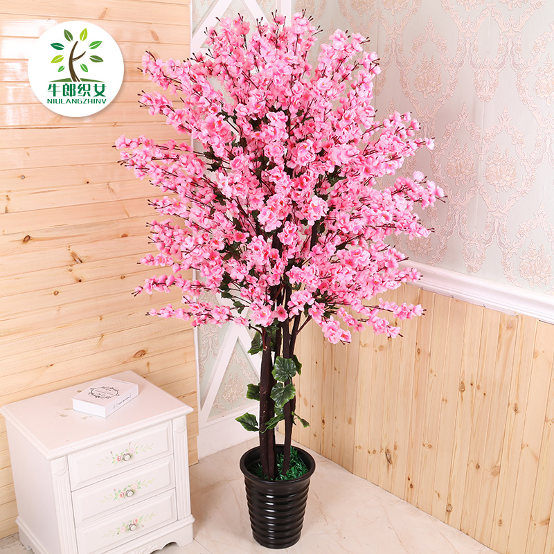 Simulation peach flower fake tree in pot living room furnishings ...