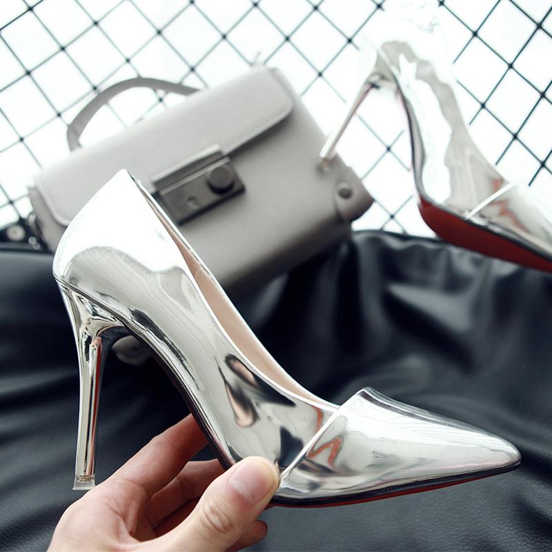 欧美2016明星同款超细跟尖头银色高跟鞋性感百搭OL浅口女单鞋婚鞋