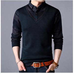 爸爸冬裝加絨T恤40-50歲中老年人襯衫領加絨加厚假兩件男保暖