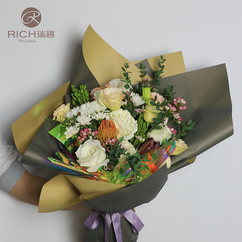 Rui Fun 2019 Korean Two Color Package Flower Paper Flowers Wrapping Paper Kraft Colorful Flowers Florist Packaging Material Paper