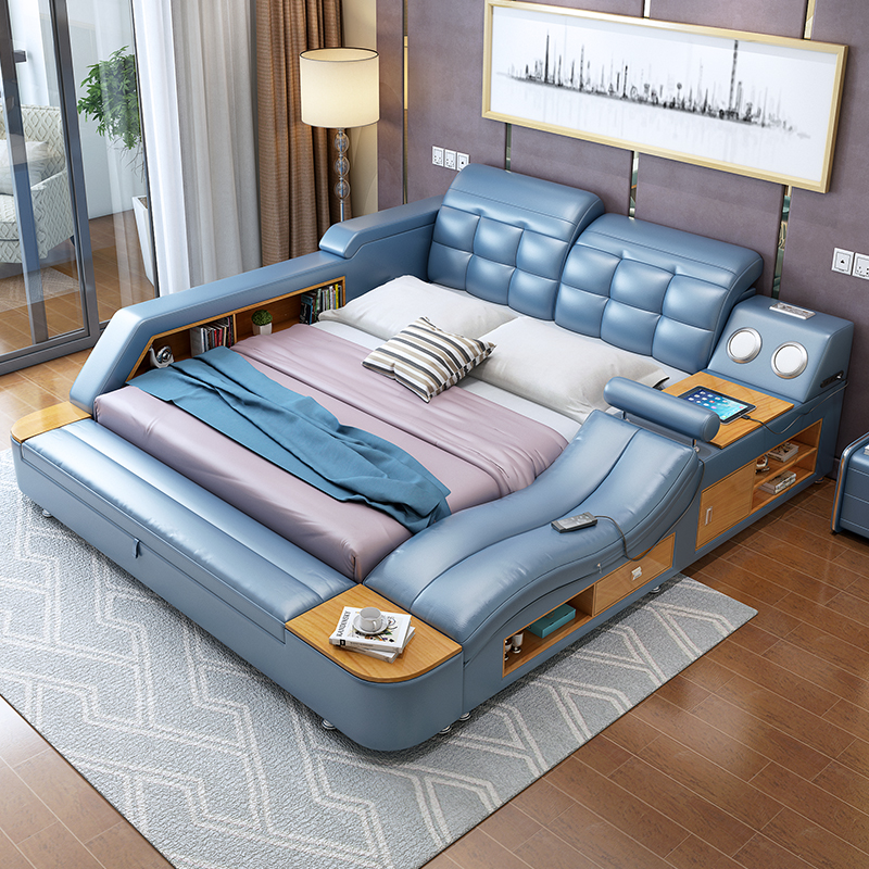 Usd massage leather bed tatami bed modern Master bedroom multifunctional tatami bed