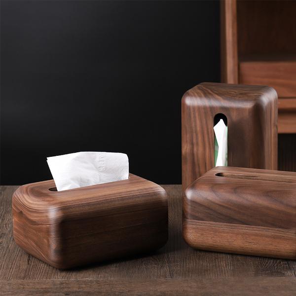 木说 黑胡桃木整木纸巾盒 简约客厅餐厅桌面收纳家用实木抽纸盒