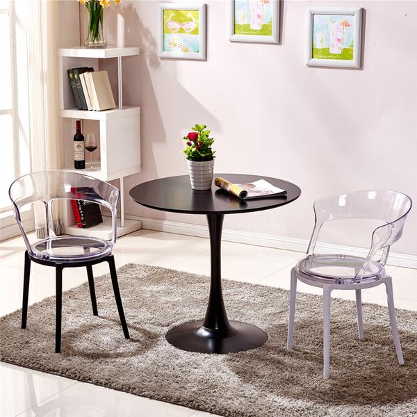 北欧洽谈桌椅组合商务接待桌咖啡桌黑色圆桌子小圆桌奶茶店餐桌椅