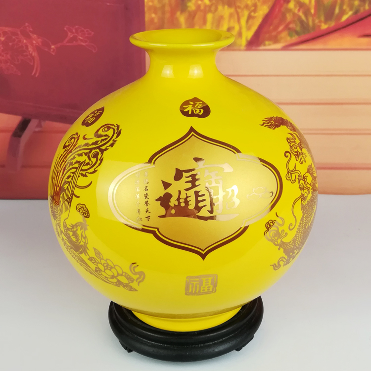 Jingdezhen Ceramic Porcelain Gold Yellow Vase Ornaments Living Room Decorations Feng Shui Porcelain Lucky Pomegranate Bottle