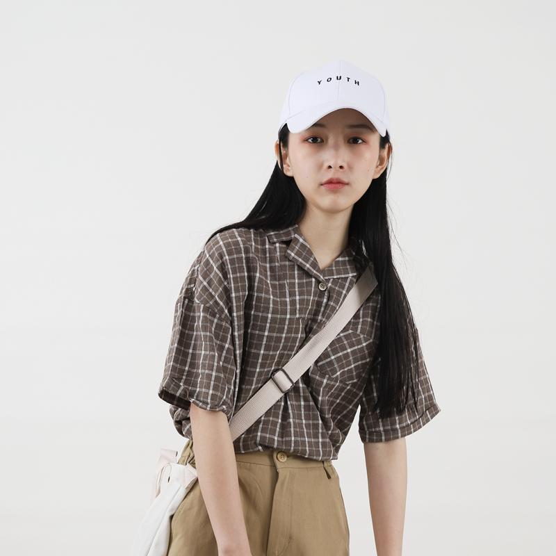 格子小芽2018夏季新款港风BF套头衬衫日系宽松衬衣短袖枝头女