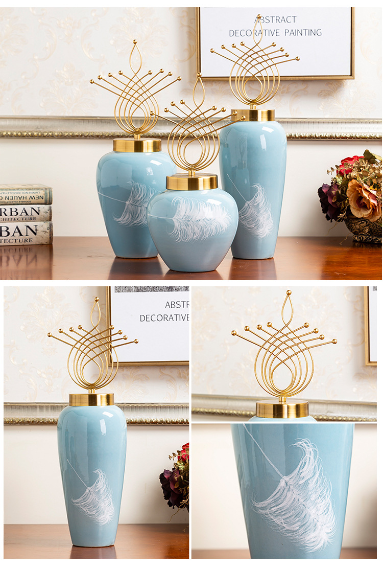 Creative light key-2 luxury furnishing articles vase household decoration jingdezhen hand - made ceramic vases, flower implement the sitting room porch place