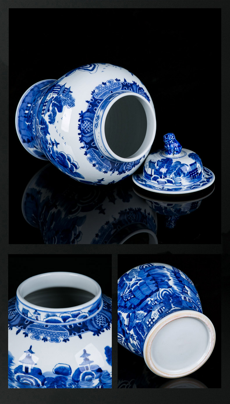 Jingdezhen blue and white porcelain ceramic tank mesa household act the role ofing is tasted furnishing articles furnishing articles of lions general sitting room porch