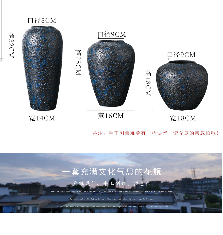Jingdezhen ceramic vases, pottery blue mercifully retro classic flower arrangement home sitting room adornment is placed