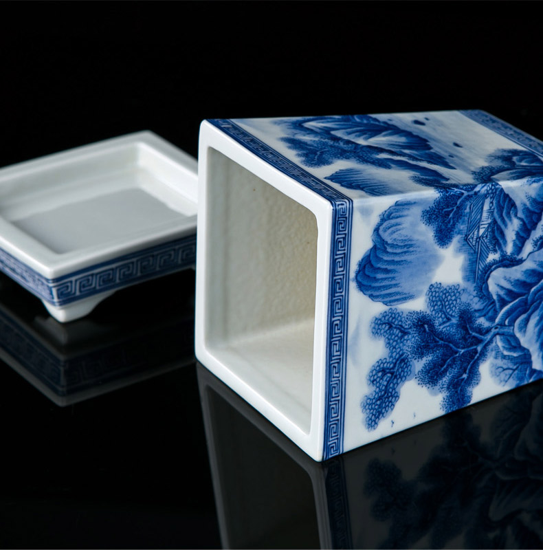 Jingdezhen hand - made corners of blue and white porcelain pot with potted tray orchid Chinese style adornment the plants flower pot