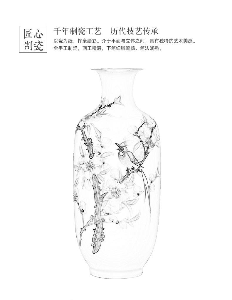 Chinese style classical decoration vase vase jingdezhen hand - made ceramics furnishing articles pastel flower arrangement sitting room big vase