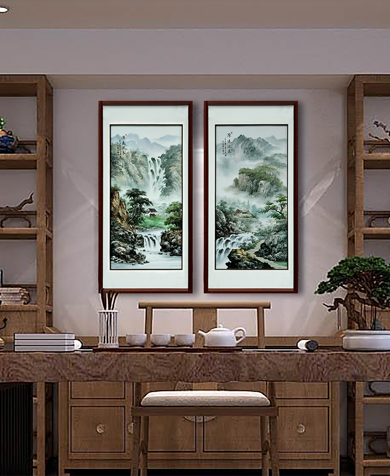 Hand made landscapes sitting room adornment jingdezhen porcelain plate painting study porch Chinese real wood, ceramic hang a picture