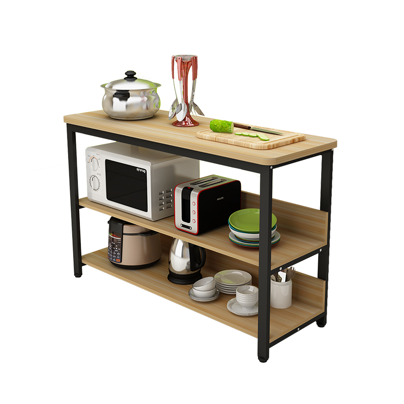 Kitchen cutting table rounded shelf table microwave oven ...