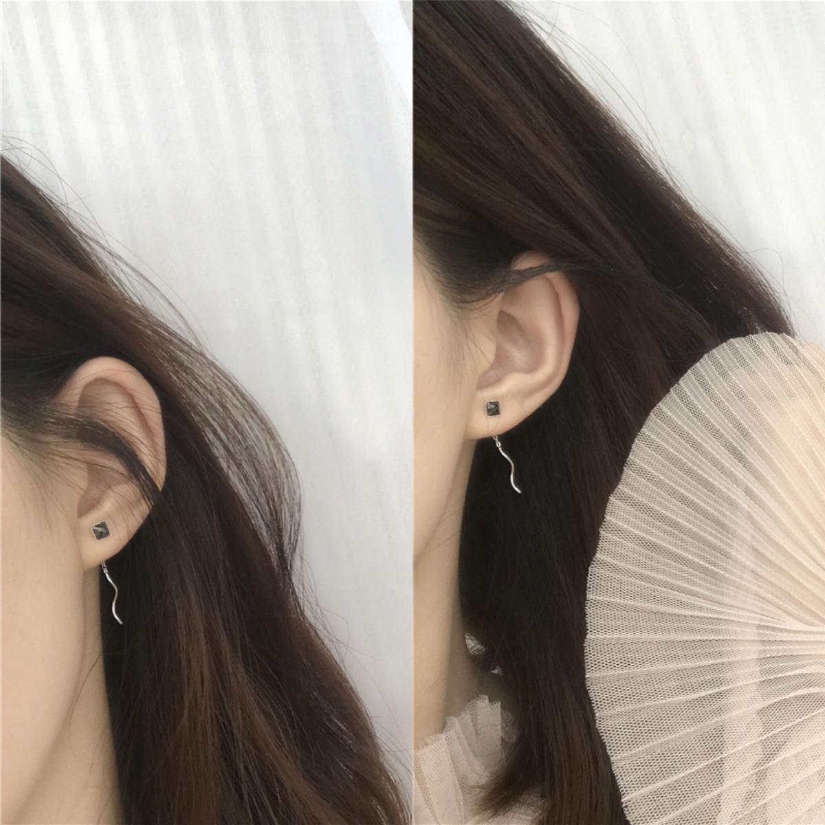 JewelryS925水晶波浪耳坠方形耳线气质耳环纯银黑色女包邮