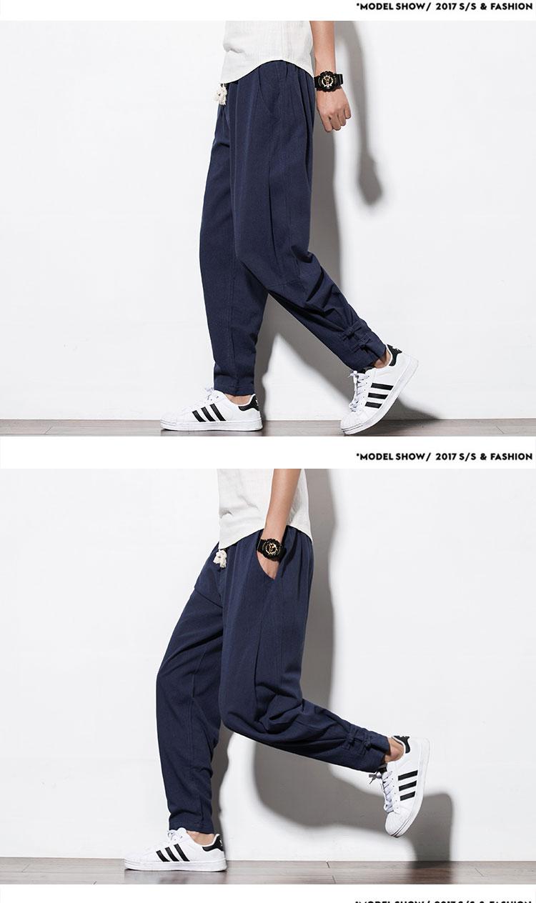 Phong cách trung quốc tinh khiết bông quần âu chân quần Tang phù hợp với lỏng kích thước lớn quần hậu cung quần M6 nam quần áo