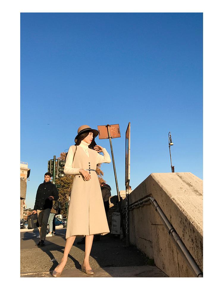 Ruthen vest nữ mùa thu và mùa đông 2018 mới phần dài Hàn Quốc phiên bản của eo là mỏng không tay nữ xuống áo khoác