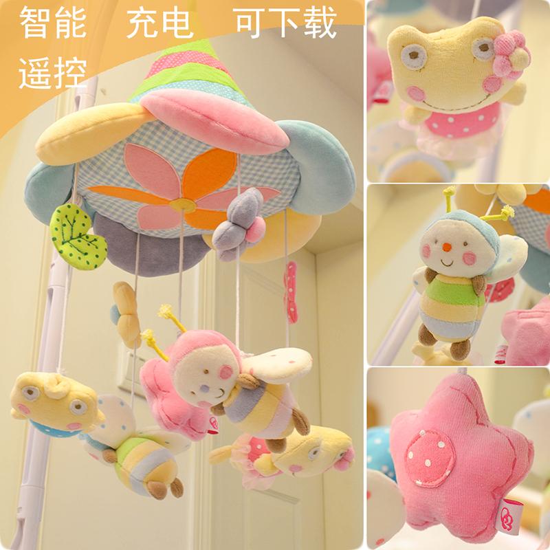 包邮八音盒布艺v布艺充电床铃音乐毛绒成品婴儿玩具旋转新生