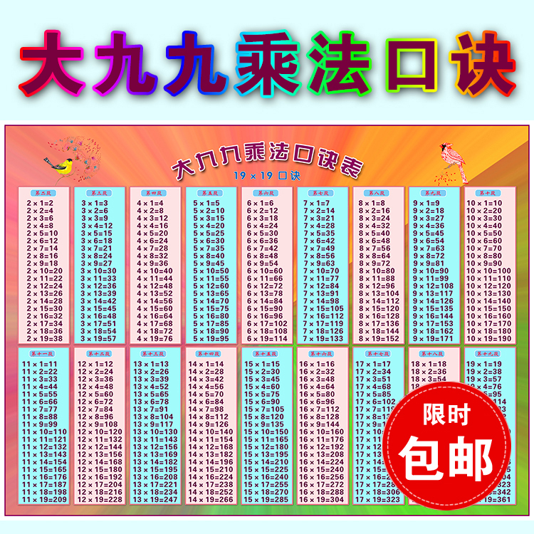Big Nine Nine Multiplication Table Chart Kindergarten Primary School