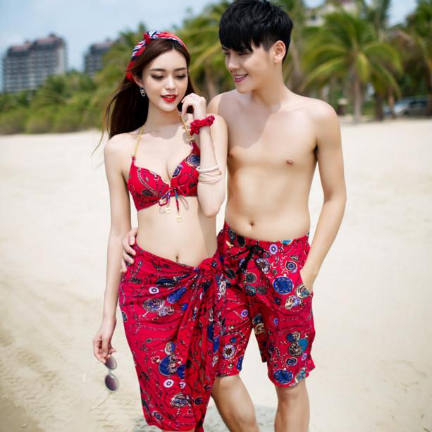 海边婚纱红色情侣泳衣女三件套装遮肚韩国温泉泳装海边沙滩男裤子