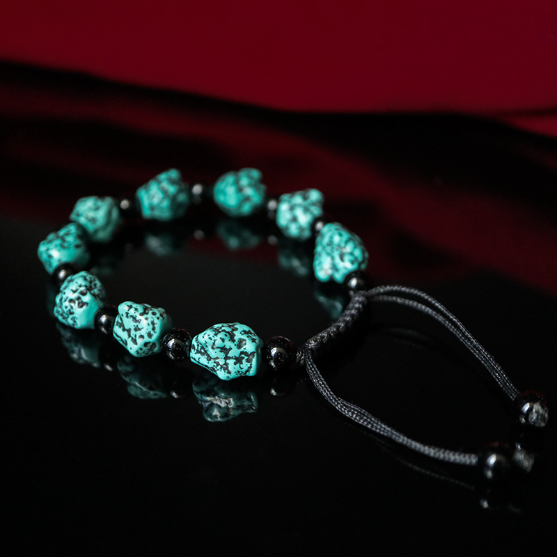 Tibetan Tibetan Buddhist Qibao optimization turquoise original bracelet bracelet men and women models quaint single circle beads