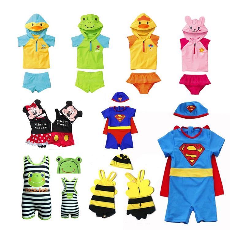 a767c9aff1229 Cute children swimsuit boys and girls baby infants Siamese cartoon modeling spa  swimsuit costumes