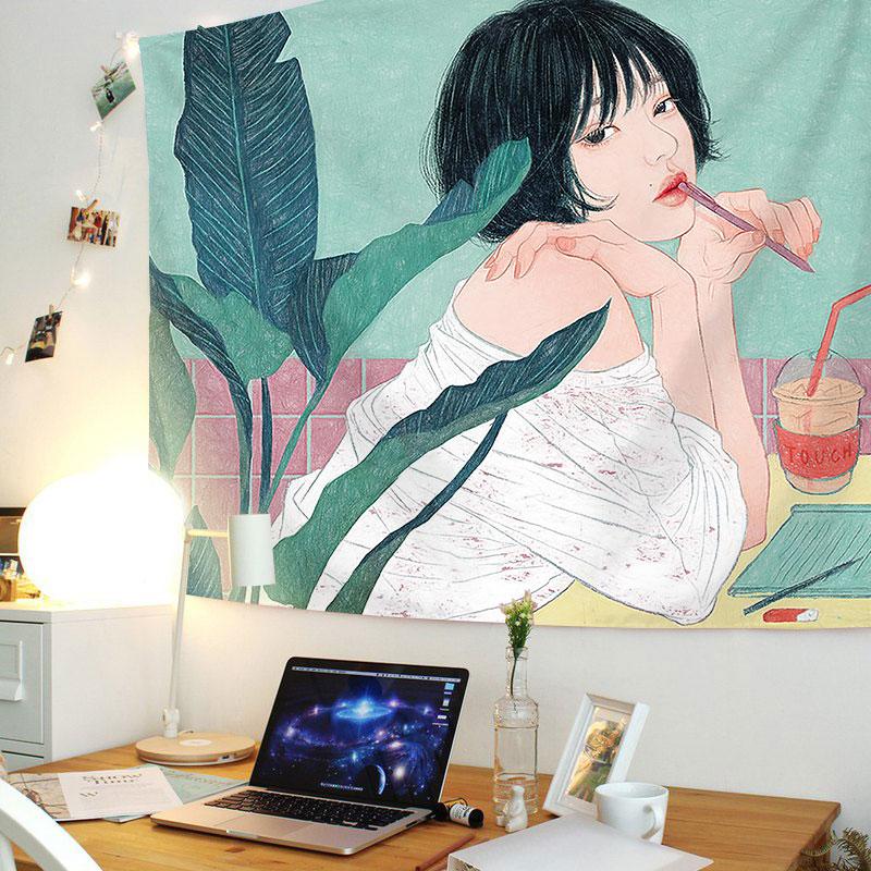 Nhật Bản phong cách vẽ tay vải nền in vải treo tường vải neo lưới phòng ngủ màu đỏ cô gái tấm thảm trang trí đầu giường vải ảnh - Tapestry