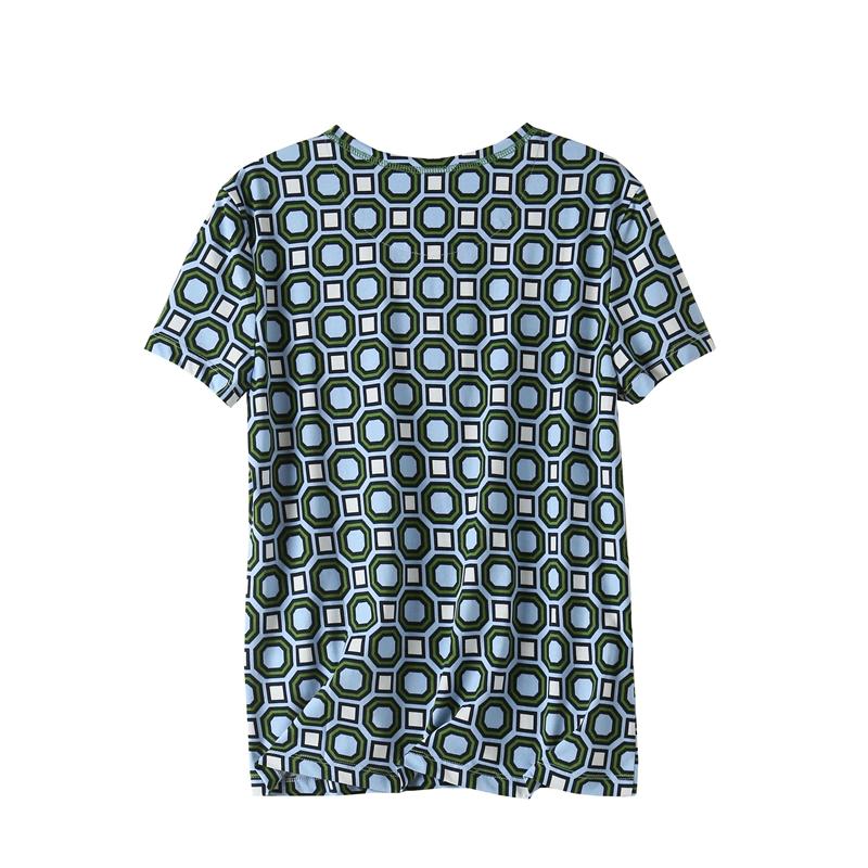 『MOMO❤潮流』外貿單 菱形幾何印花 全棉短袖上衣 恤
