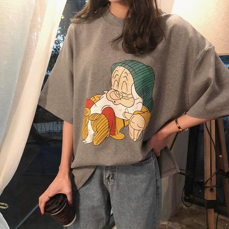 韩国加厚磨毛纯棉短袖T恤小矮人印花韩版宽松内搭上衣衫打底女