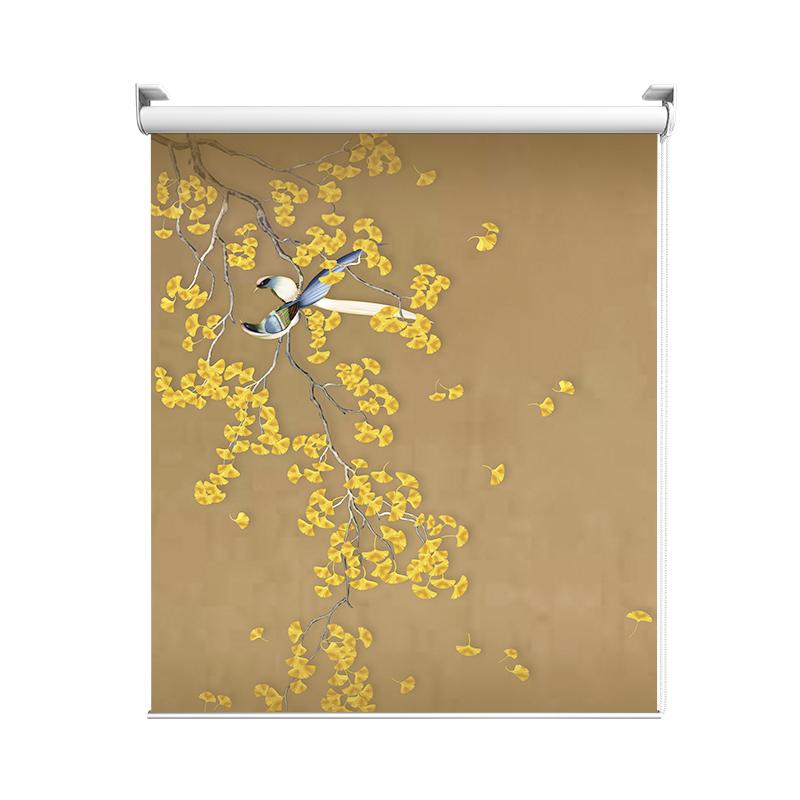 欧琦曼定制山水花鸟窗帘广告卷帘遮光中式复古图案禅意升降拉珠帘