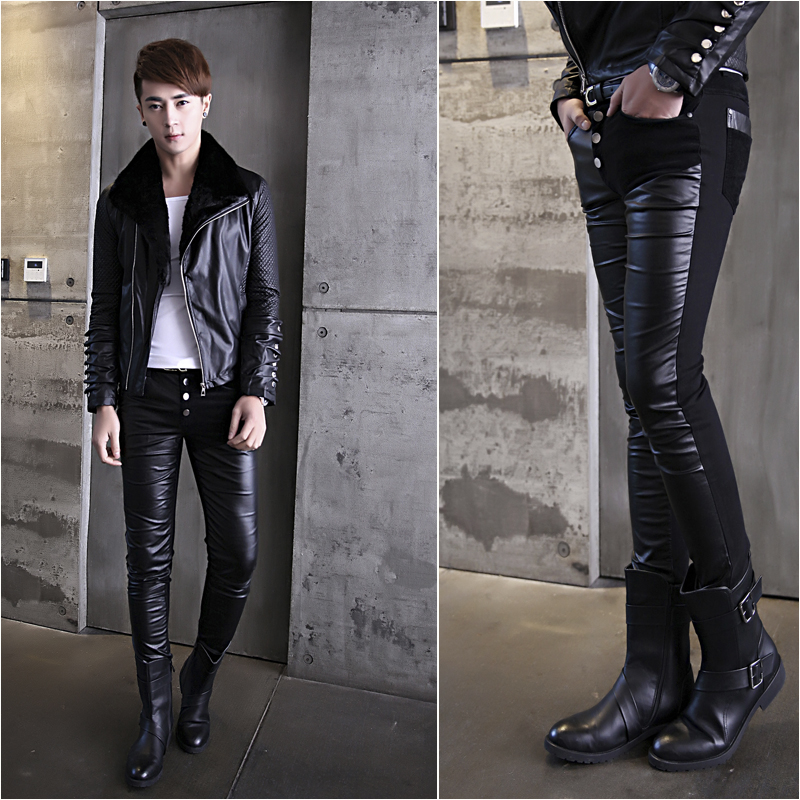 Winter Tide Male New Leather Pants Fashion Handsome Slim Stitching