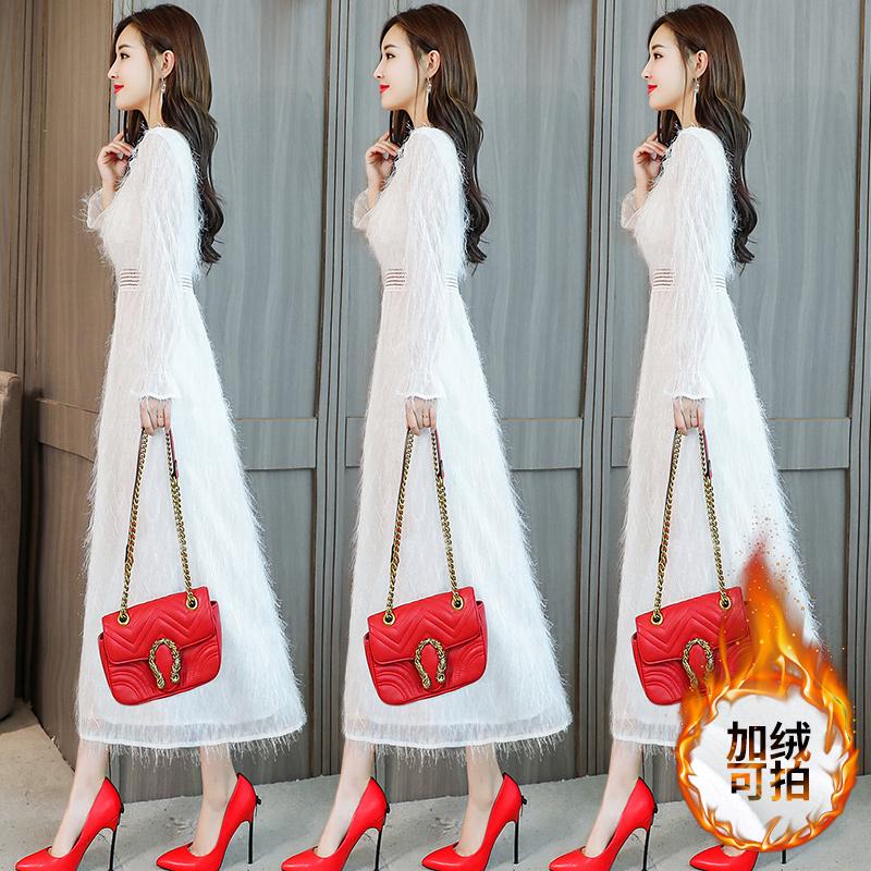 长袖女2019新款秋冬修身气质春装白色加绒加厚裙子长裙连衣裙雪纺