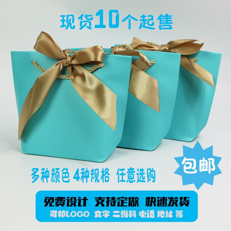 蝴蝶结丝带礼品袋手提袋现货纸袋定做服装化妆品袋精美包装袋包邮