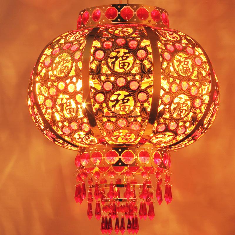 七彩水晶灯笼LED灯笼阳台灯笼旋转灯笼春节结婚新年电动发光灯笼