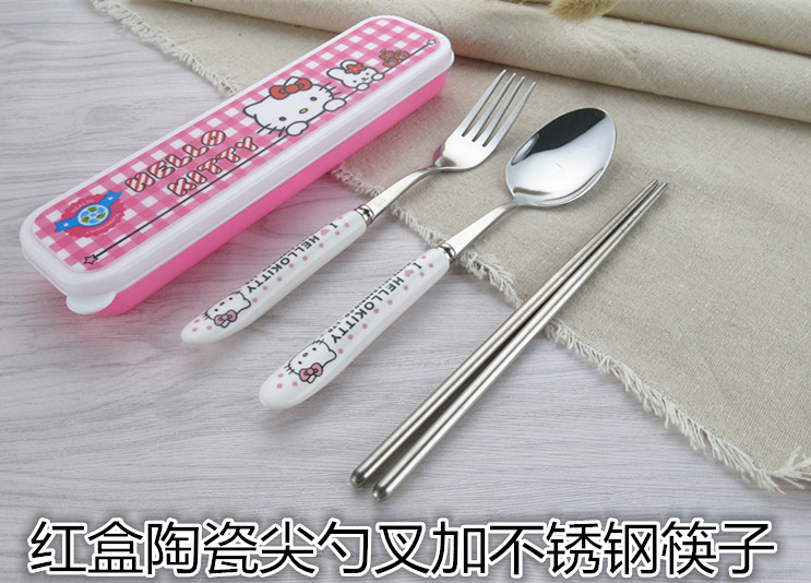 Red box ceramic spoon fork plus stainless steel chopsticks